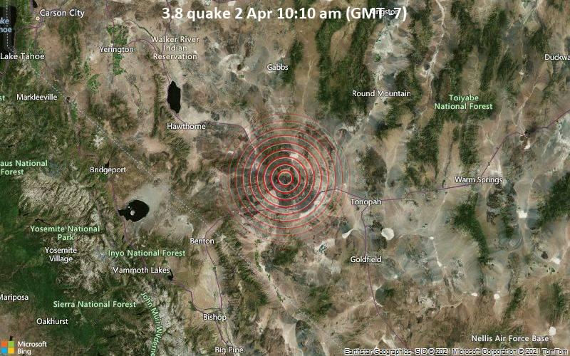 3.8 Tremblement de terre 2 avril 10h10 (GMT -7)