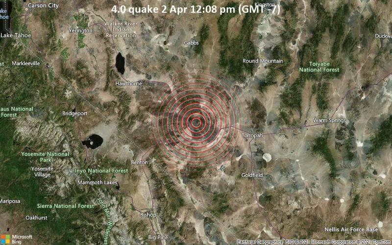 4.0 Tremblement de terre 2 avril 12:08 PM (GMT -7)