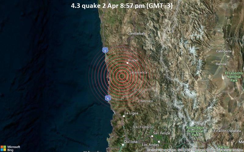 4.3 quake 2 Apr 8:57 pm (GMT -3)