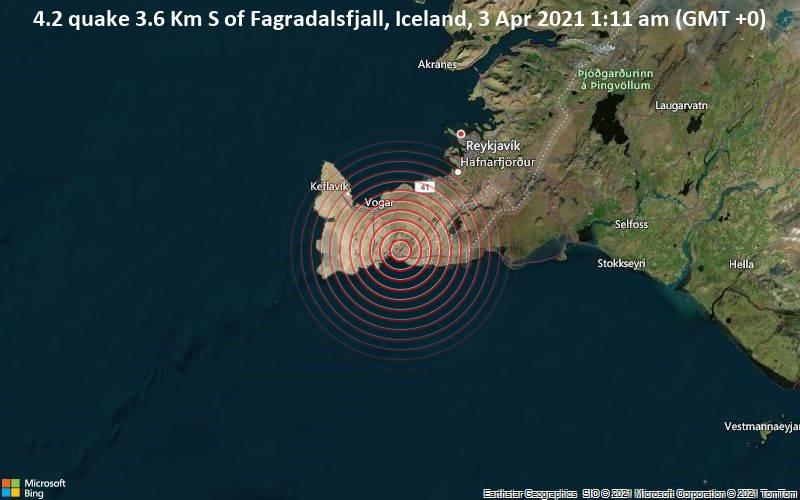4.2 Gempa 3.6 Km, Fakertalsfjal, Islandia, 3 April 2021 01.11 (GMT +0)