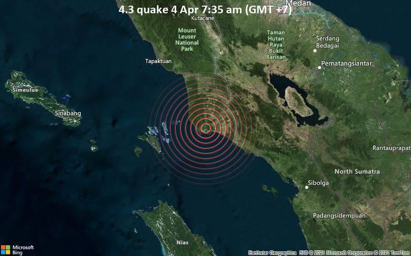 4.3 Terremoto 4 de abril 7:35 a.m. (GMT +7)