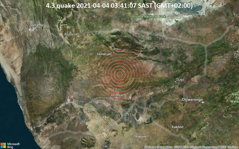 4.3 Terremoto 2021-04-04 03:41:07 SAST (GMT + 02: 00)