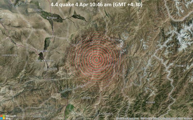 4.4 Terremoto 4 de abril a las 10:46 a.m. (GMT +4: 30)
