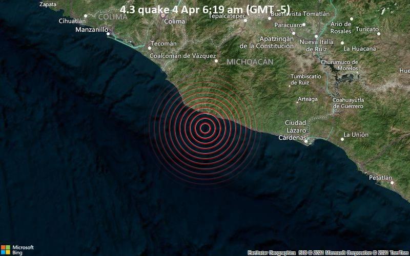 4.3 Terremoto del 4 de abril a las 6:19 a.m. (GMT -5)