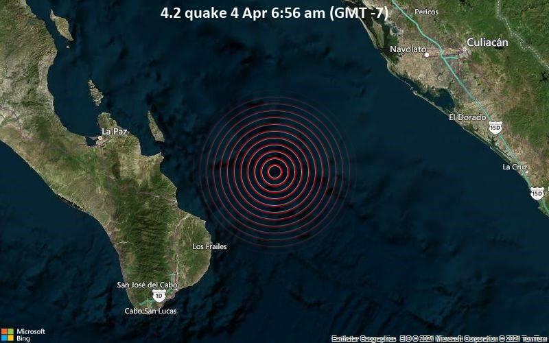 4.2 Terremoto 4 de abril a las 6:56 a.m. (GMT -7)