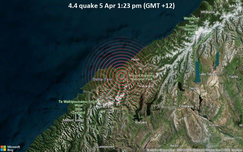 4.4 quake 5 Apr 1:23 pm (GMT +12)