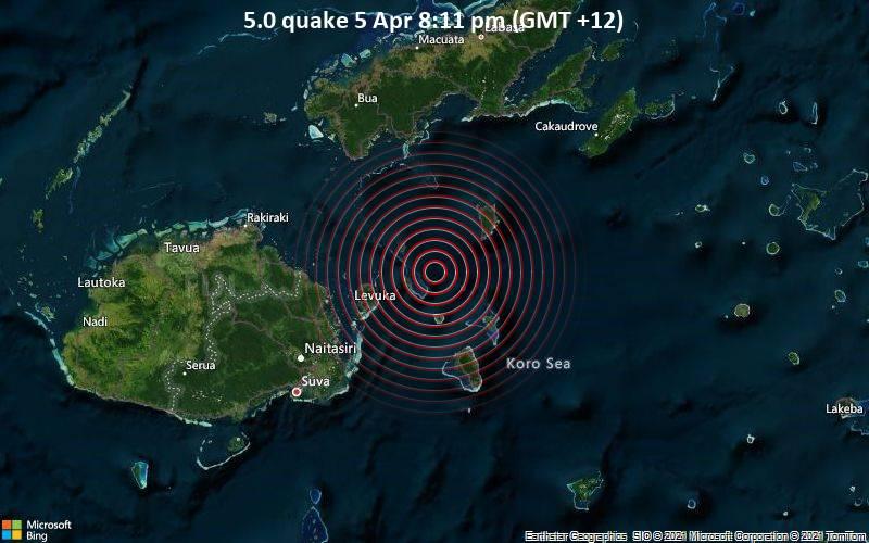 5.0 quake 5 Apr 8:11 pm (GMT +12)
