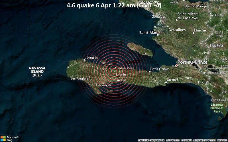 4.6 Terremoto 6 de abril 1:22 a.m. (GMT -4)