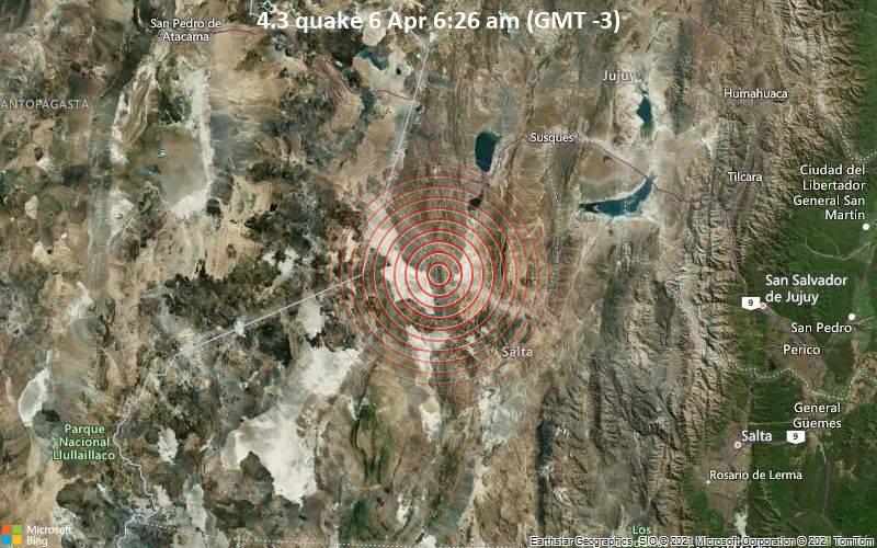 4.3 Terremoto del 6 de abril a las 6:26 a.m. (GMT -3)
