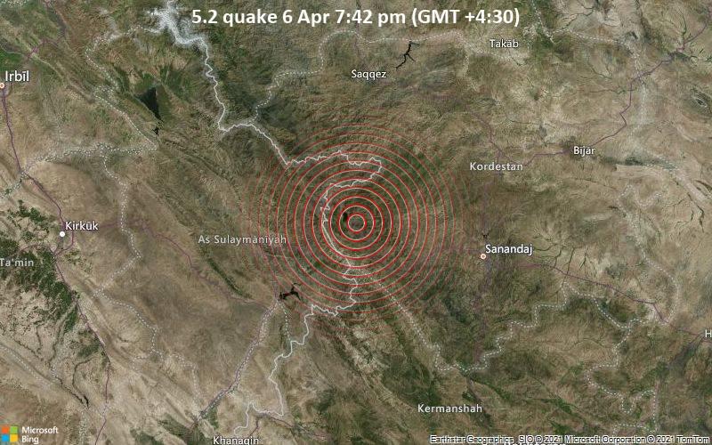 5.2地震64月6日午後7時42分(GMT +4:30)