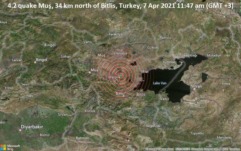 4.2 quake Muş, 34 km north of Bitlis, Turkey, 7 Apr 2021 11:47 am (GMT +3)
