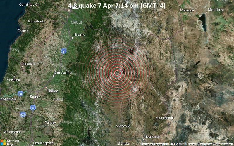 Leichtes Erdbeben der Stärke 4.8 - Argentinien, 95 km südöstlich von Linares, Maule Region, Chile, am Mittwoch,  7. Apr 2021 um 19:14 Lokalzeit