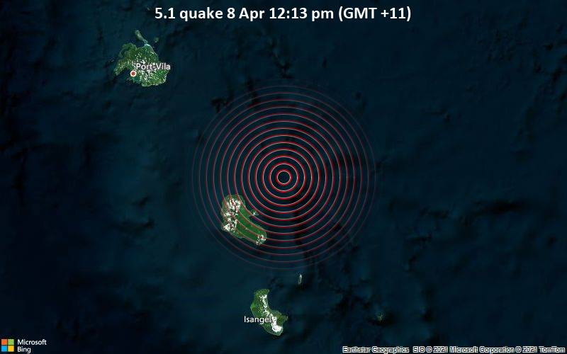 5.1 quake 8 Apr 12:13 pm (GMT +11)