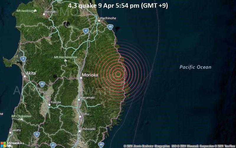 4.3 quake 9 Apr 5:54 pm (GMT +9)