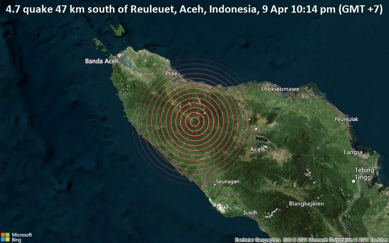 4.7 quake 47 km south of Reuleuet, Aceh, Indonesia, 9 Apr 10:14 pm (GMT +7)