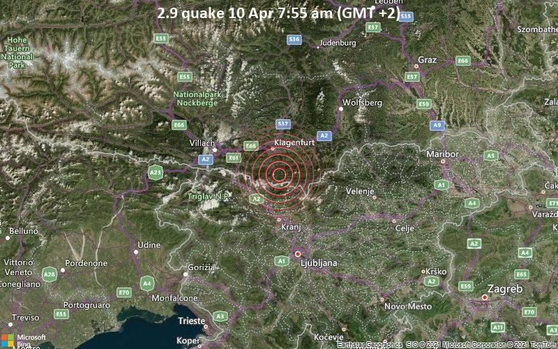 2.9 quake 10 Apr 7:55 am (GMT +2)
