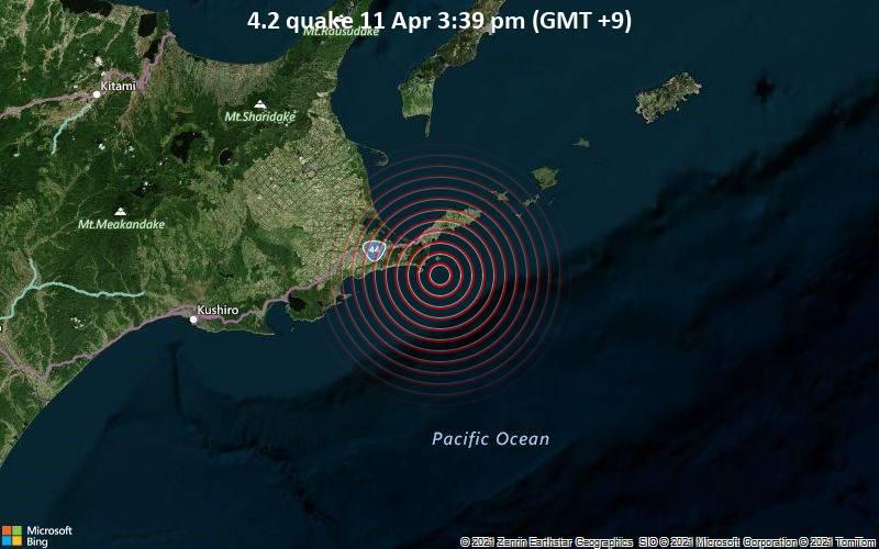 Leichtes Erdbeben der Stärke 4.2 - Nordpazifik, 19 km südlich von Nemuro, Hokkaido, Japan, am Sonntag, 11. Apr 2021 um 15:39 Lokalzeit