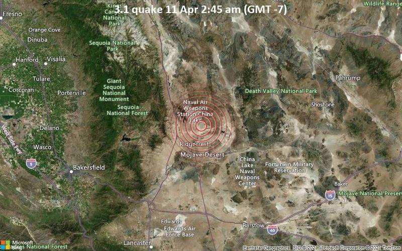 Leichtes Erdbeben der Stärke 3.1 - San Bernardino Comitatus County, 19 km nördlich von Ridgecrest, Kern County, Kalifornien, USA, am Sonntag, 11. Apr 2021 um 02:45 Lokalzeit