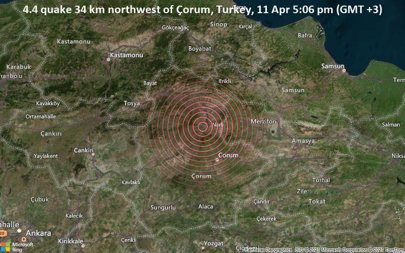 4.4 quake 34 km northwest of Çorum, Turkey, 11 Apr 5:06 pm (GMT +3)