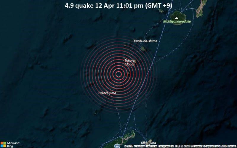 4.9 quake 12 Apr 11:01 pm (GMT +9)