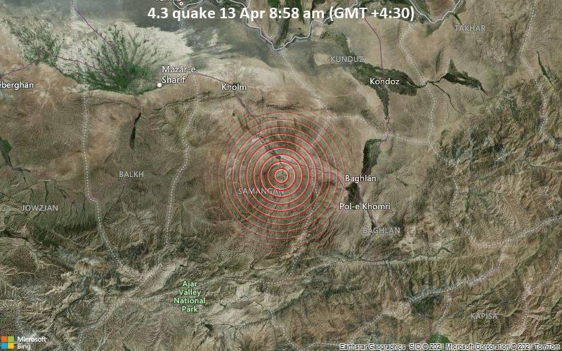 4.3 quake 13 Apr 8:58 am (GMT +4:30)