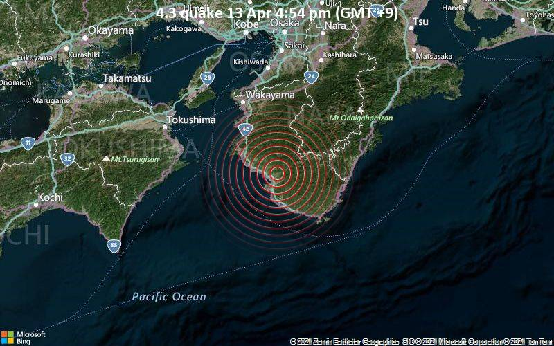 4.3 quake 13 Apr 4:54 pm (GMT +9)