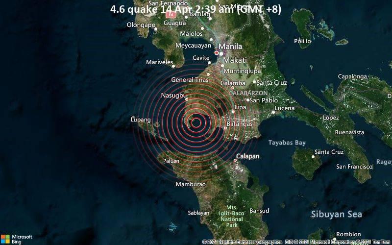 Leichtes Erdbeben der Stärke 4.6 - South China Sea, 12 km südlich von Balayan, Batangas, Calabarzon, Philippinen, am Dienstag, 13. Apr 2021 um 18:39 GMT
