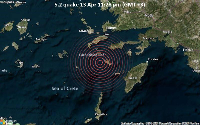 Starkes Magnitude 5.2 Erdbeben - Ägäisches Meer, 16 km westlich von Tilos , Griechenland, am Dienstag, 13. Apr 2021 um 20:28 GMT