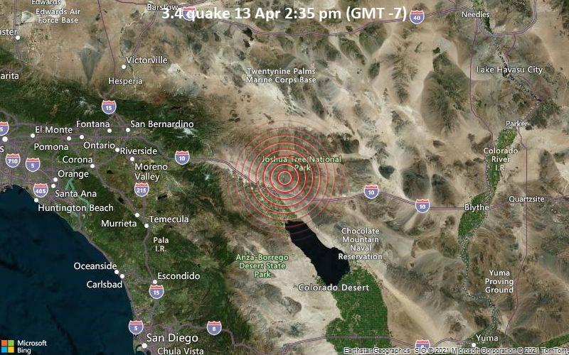 Leichtes Erdbeben der Stärke 3.4 - 15 km nordöstlich von Indio, Riverside County, Kalifornien, USA, am Dienstag, 13. Apr 2021 um 14:35 Lokalzeit