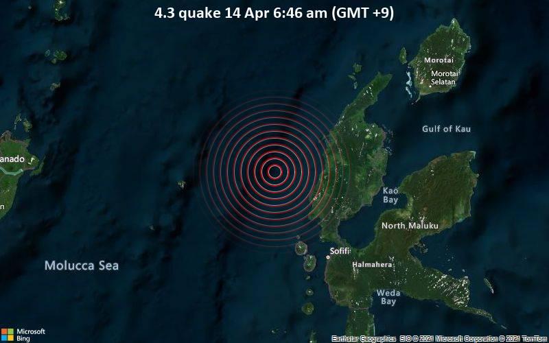 Leichtes Erdbeben der Stärke 4.3 - Maluku Sea, 75 km nördlich von Ternate, Maluku Utara, Indonesien, am Dienstag, 13. Apr 2021 um 21:46 GMT