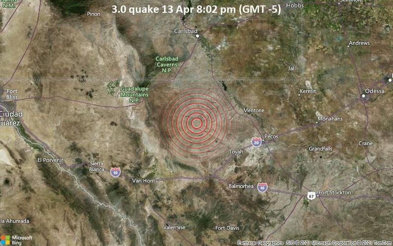 3.0 quake 13 Apr 8:02 pm (GMT -5)