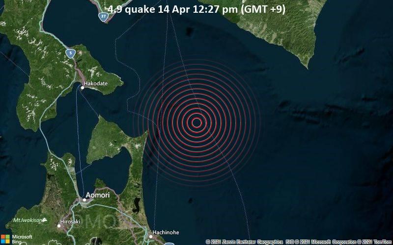 4.9 quake 14 Apr 12:27 pm (GMT +9)