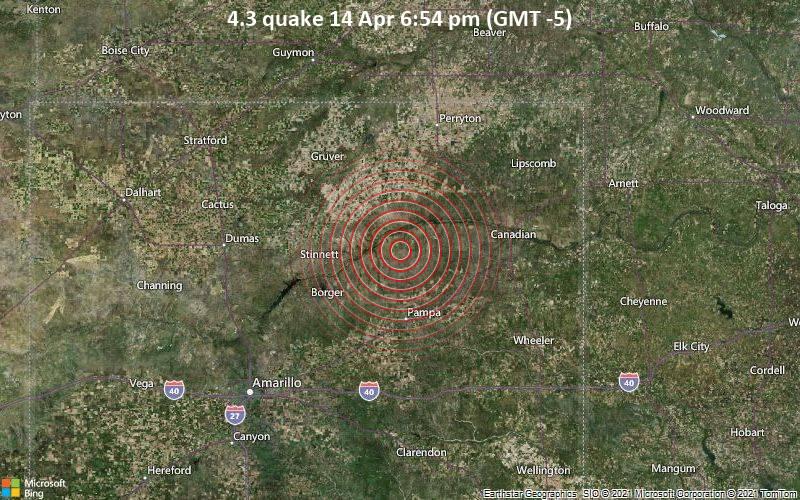 4.3 quake 14 Apr 6:54 pm (GMT -5)