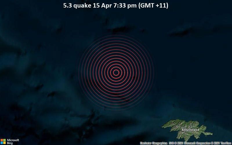 5.3 quake 15 Apr 7:33 pm (GMT +11)