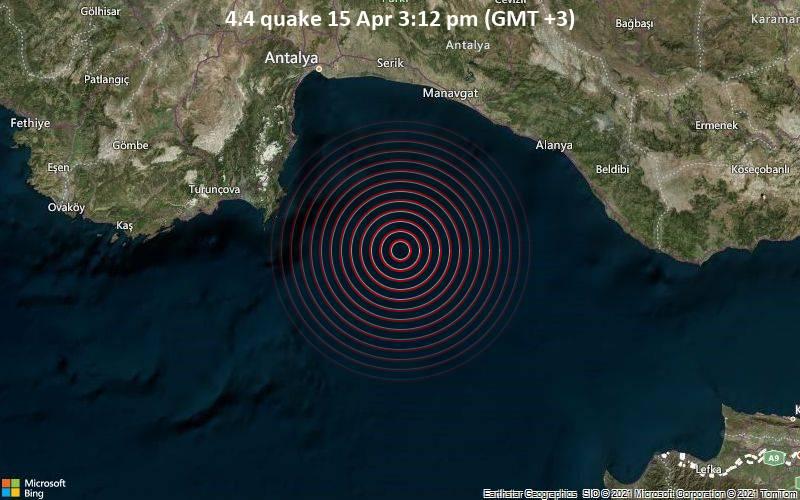 4.4地震4月15日午後3:12(GMT + 3)