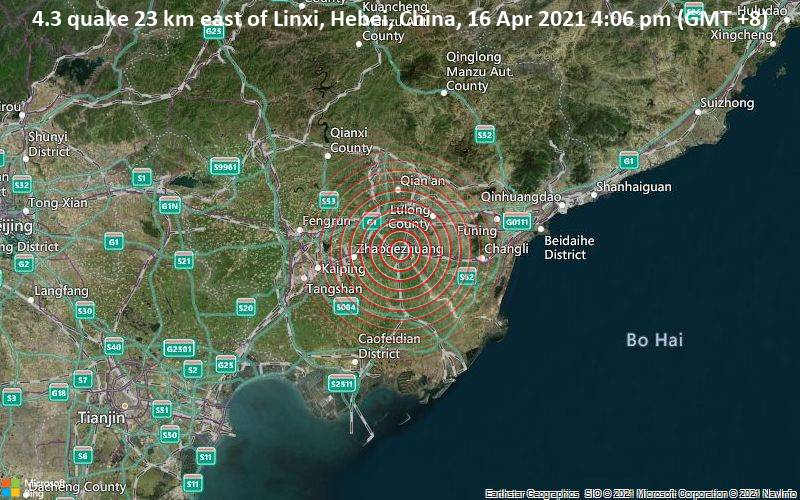 4.3 quake 23 km east of Linxi, Hebei, China, 16 Apr 2021 4:06 pm (GMT +8)
