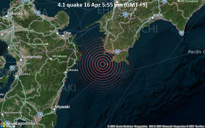 4.1 quake 16 Apr 5:55 pm (GMT +9)
