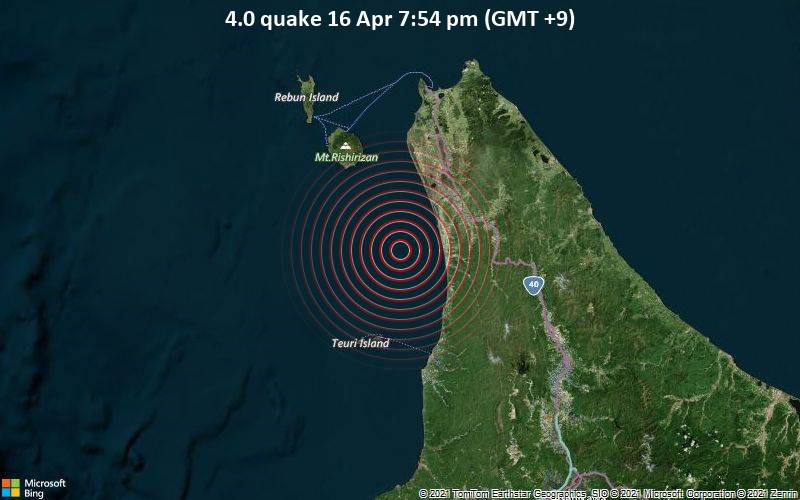 4.0 quake 16 Apr 7:54 pm (GMT +9)
