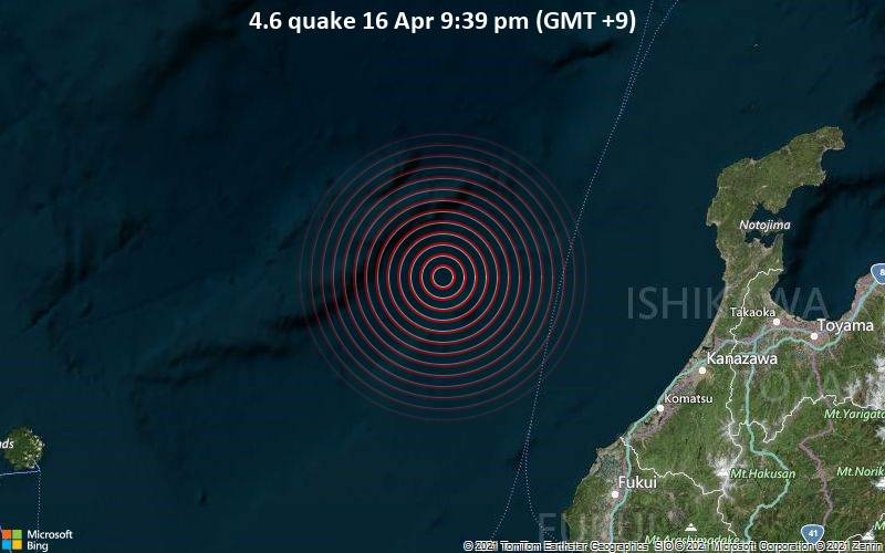 4.6 quake 16 Apr 9:39 pm (GMT +9)
