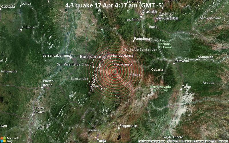 4.3 Terremoto 17 de abril 4:17 AM (GMT -5)