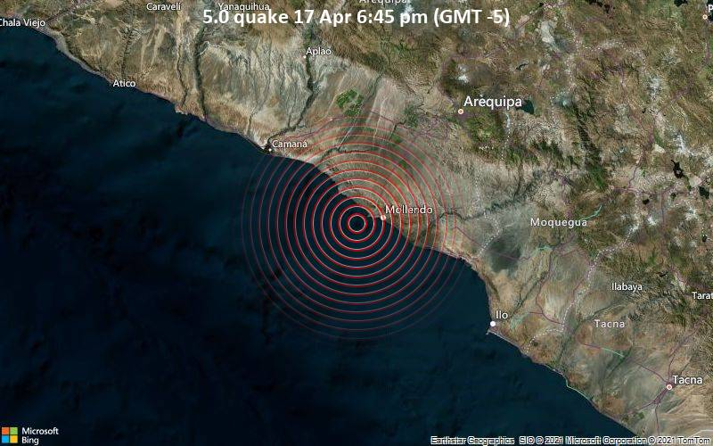 5.0 quake 17 Apr 6:45 pm (GMT -5)