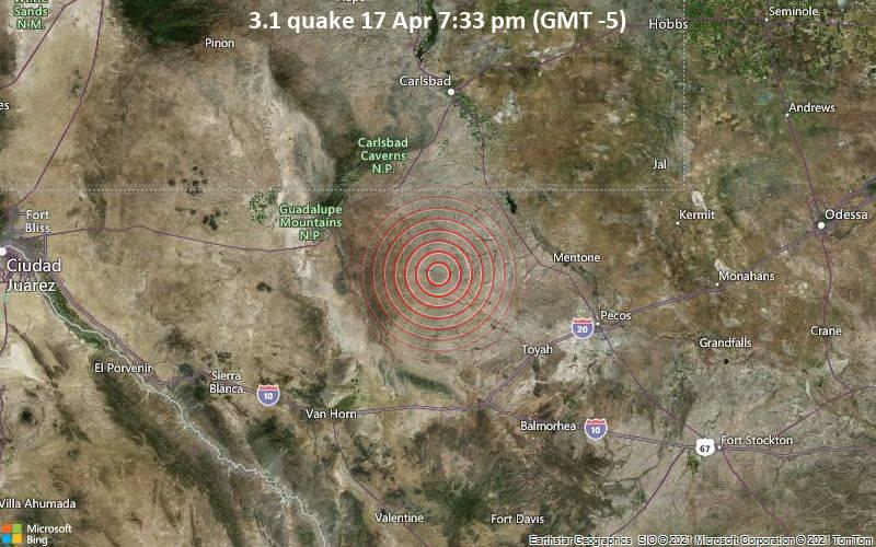 3.1 quake 17 Apr 7:33 pm (GMT -5)