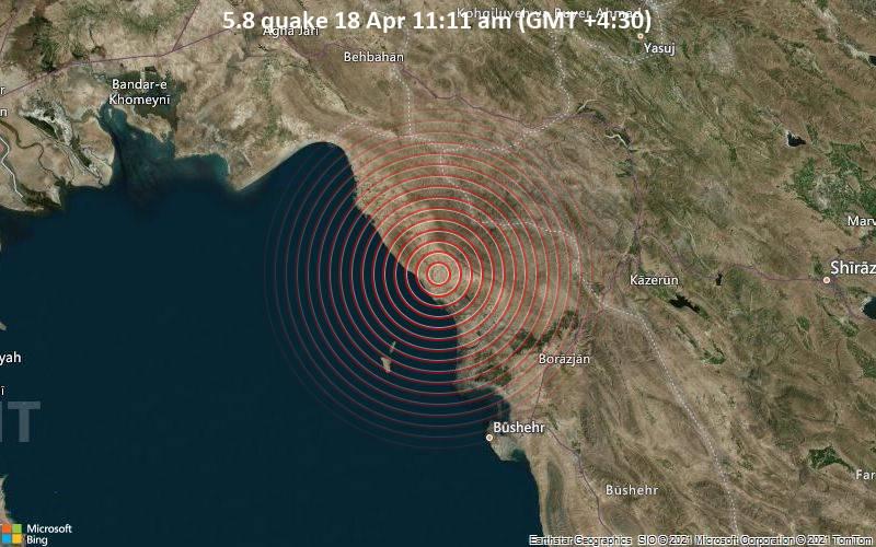 5.8地震4月18日午前11:11(GMT +4:30)