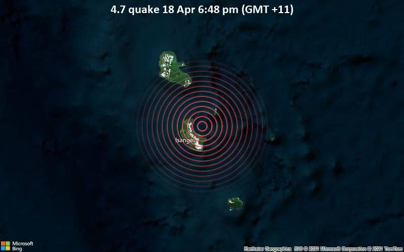 4.7地震4月18日午後6時48分(GMT +11)