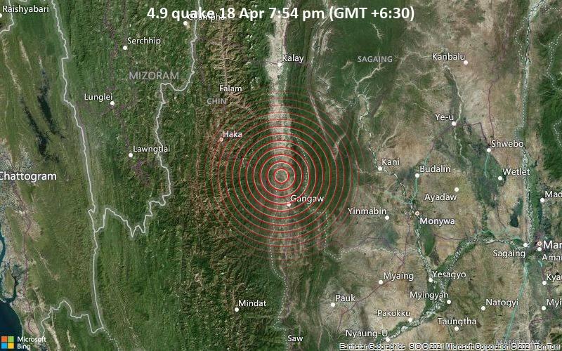 4.9 Gempa bumi 18 April 19:54 (GMT +6: 30)