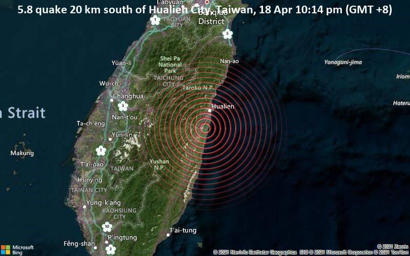 5,8 Gempa bumi 20 km selatan Houlian, Taiwan 18 April 10:14 PM (GMT +8)