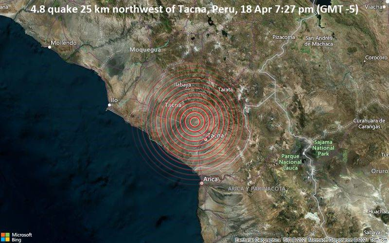 4.8 quake 25 km northwest of Tacna, Peru, 18 Apr 7:27 pm (GMT -5)