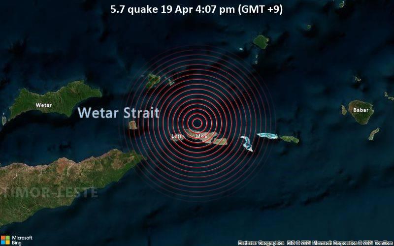 5.7 quake 19 Apr 4:07 pm (GMT +9)