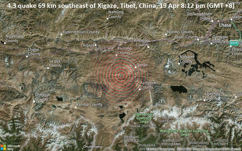 4.3 quake 69 km southeast of Xigaze, Tibet, China, 19 Apr 8:12 pm (GMT +8)
