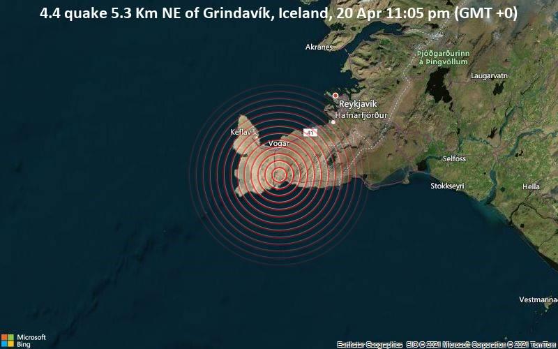 Moderates Erdbeben der Stärke 4.4 - 5.3 Km NE of Grindavík, Iceland, am Dienstag, 20. Apr 2021 um 23:05 GMT